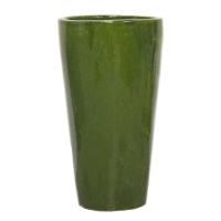 Pot rond vert en terre cuite céramiqué 16x16x30''