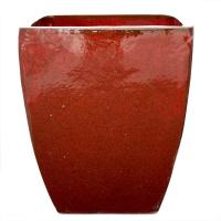 Pot rouge artisanal en terre cuite céramiqué 19 x 19 x 21,3'