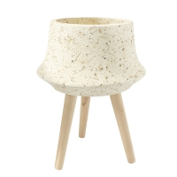Cream Stone Finish Standing Planter, 21 x 16''