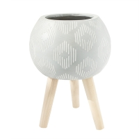Patterned Rounded Standing Planter, 16,5 x 12''