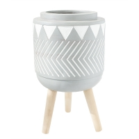 Grey Patterned Standing Planter, 12''