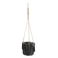 Pot suspendu angulaire noir, 6,5''