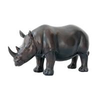 Rhinocéros en résine, fini bronze