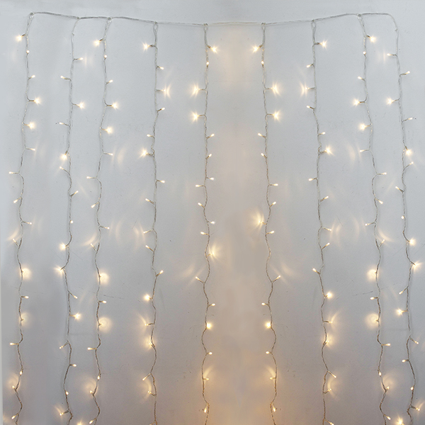 600 Led curtain light, warm white, clear wire, indoor only