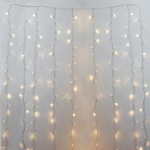 Rideau de 600 lumi res led blanc chaud fil clair int ext - Rideau de fil blanc ...
