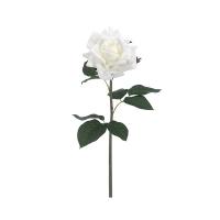 Rose blanche sur tige 20,5'', touché réel