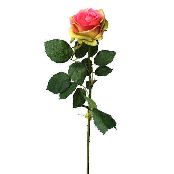 Fleur artificielle rose couleur rose vert 27 5 for Soldes fleurs artificielles