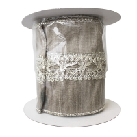 Metallic lace trim dupion ribbon 4'' x 5 yard