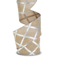 Beige & Silver Ribbon,  2.5'' X 10 yards