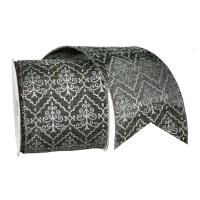 Ruban gris avec motifs blancs 4'' x 10 verges