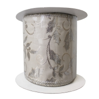 Ruban ivoire et or motif jacquard 4'' x 10 verges
