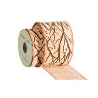 Branch design jute ribbon 4,5'' x 10 yards
