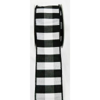 Black and white dupion checked ribbon 2,5'' x 10 yard