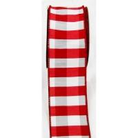 Ruban quadrillé rouge et blanc 2,5'' x 10 verges