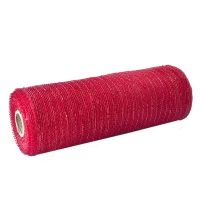 Christmas mesh roll red & silver 10''/ 10 yards