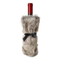 Sac bouteille de vin fausse fourrure 12,6'', 3 ass. Prix uni