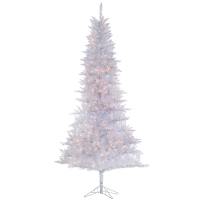 9' White illuminated tiffany tinsel tree, 53'' diam.