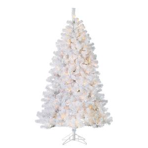 7' Illuminated Flocked white montana pine, 50'' diam.