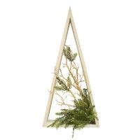 Sapin en bois illuminé, branches dorées, 33''