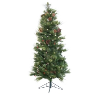5' Artificial  illuminated fir tree with pines cones