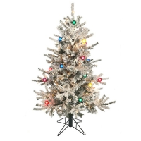 4,5'' Flocked slim illuminated tree, 40'' diam, 200 multicol