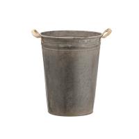 Metal Bucket with Jute Burlap 15,75 x 12,75''