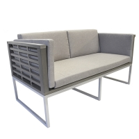 Cushion sofa, painted aluminium structure, grey