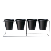Black Metal 4 Pot Plant Stand