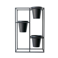Black Metal Plant Stand with 3 Pots