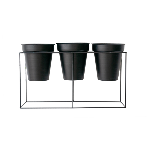 Black Metal Plant Stand with 3 Pots - Veronneau - Plants and Decor on