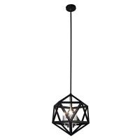 Suspension géométrique noire avec chandelier 13 x 13 x 16''