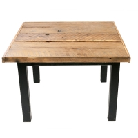 Table en bois de grange et métal