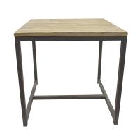 Table carré, métal et bois, 19 x 19 x 18,5''