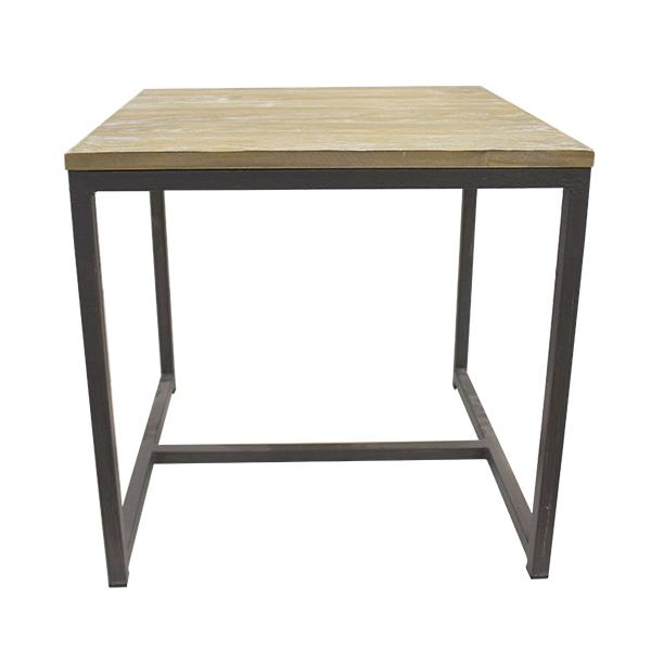 Table carr m tal et bois 19 x 19 x 18 5 39 39 plantes et - Table carre bois ...