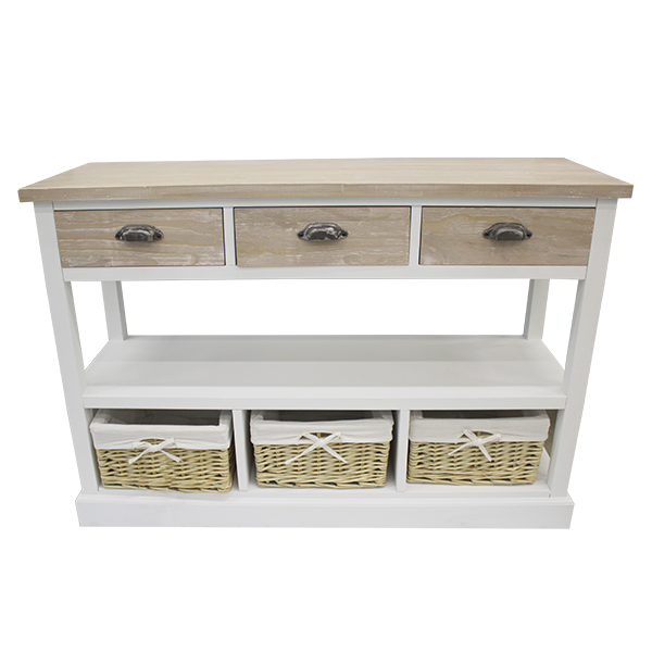 Console Table 3 Drawers U0026 3 Baskets, Wood, ...