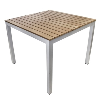 Plastic wood and aluminium table, chocolat brown 36 x 36''