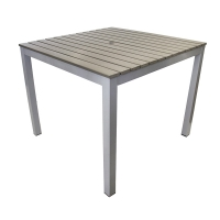 Plastic wood and aluminium table, dark grey 36 x 36''