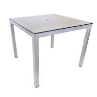 Square aluminium outdoor table, grey