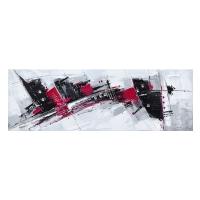 Tableau abstrait blanc, rouge et noir 59x20''