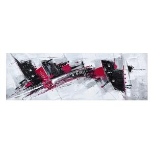 Tableau abstrait blanc rouge et noir 59x20 39 39 d cors for Tableau blanc et rouge