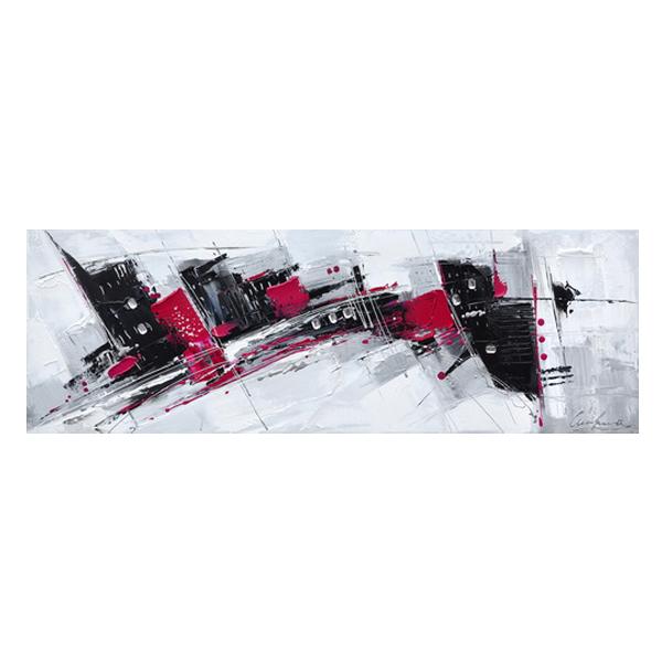 Tableau abstrait blanc rouge et noir 59x20 39 39 d cors - Tableau noir et blanc design ...