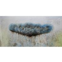 Tableau abstrait bleu et blanc 30 x 60''