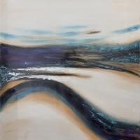 Tableau abstrait bleu et blanc 36 x 36''