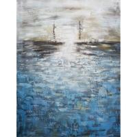 Tableau abstrait bleu et blanc, fini lustré 36 x 48''