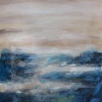 Tableau abstrait bleu et crème 36 x 36''