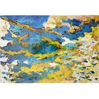 Tableau abstrait bleu et jaune, fini lustré 24 x 36''
