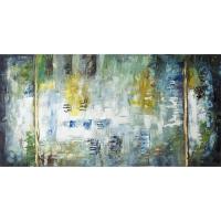 Tableau abstrait bleu et jaune, fini lustré 30 x 60''