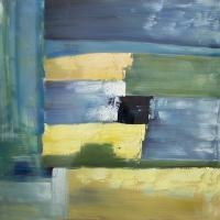 Tableau abstrait bleu, fini lustré 40 x 40''