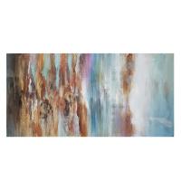 Tableau abstrait bleu, orangé et blanc, peint à la main 30 x