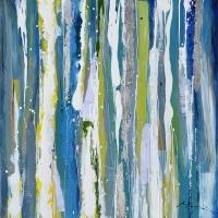Tableau abstrait bleu, vert et jaune 39,5x39,5''